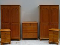 Solid Pine Bedroom Furniture Set/ Double Wardrobes/ Chest of Drawers/ Bedsides Tables