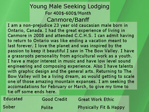 Young Male Seeking Lodging Canmore