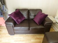 Two Seater Brown Leather Sofa VG Condition x 2 (Reduced)