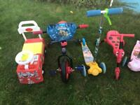 Various Ride-on's , Push along's, Scooters etc