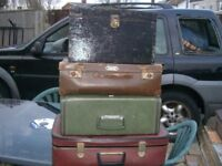 3 VERY OLD SUITCASES AND TRAVEL BOX - JUST £15 FOR ALL 4 - CLACTON ON SEA CO15