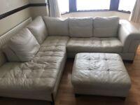 Cream Italian real leather corner sofa