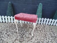 OLD PINK VELVET DRESSING TABLE STOOL VERY SOLID AND IT'S IN VERY GOOD CONDITION 54/38/46 cm £20