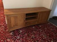 SOLID OAK MEDIA TELEVISION ENTERTAINMENT UNIT DRAWERS TV SIDE CABINET BOARD