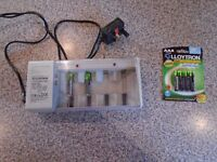 """BATTERY CHARGER, used and 4 PACK AAA """"LLOYTRON"""" RECHARGEABLE BATTERIES for LANDLINE PHONE, BRAND NEW"""