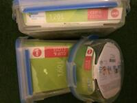 3 X Clip And Close Food Storage Containers. Pack of 2 snap box. Light my fire. New.