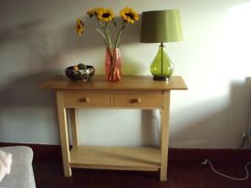 Habitat oak console table with 2 drawers