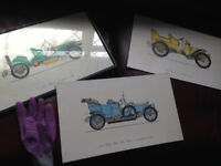 3 old prints of vintage cars - one still in its frame