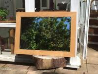SOLID OAK Bevelled Edge Very Large Mirror (101 x 71cm)