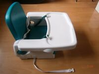 Folding Portable/Travel Highchair/Booster Seat With Straps and Tray