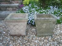 Garden pots x 2. Weathered concrete. £5.00 each.