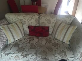 2 and 3 seater Sofa cream and brown