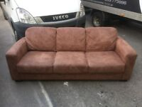 3 Seater Sofa Tan Brown Genuine Suede Leather Like New Condition