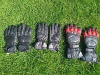 3 sets of Great Condition Leather Motorbike Gloves (APACHE, AKITO HIGH SPEED/MERCURY PLUS