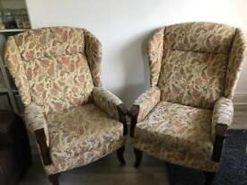 Two Matching Wing Back Chairs