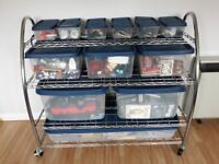 Large storage unit with tubs, ideal for kids room, toy room, garage or shed.