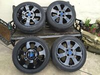"""Vauxhall Corsa 4x100 15"""" SXI/SRI Alloy Wheels & Tyres Gloss Black Blue Griffin DELIVERY AVAILABLE"""