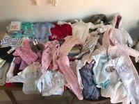 Large bundle of baby girl clothes 0-3 months - mamas and papas / H&M / Marks and Spencer's etc