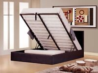 BRAND NEW DOUBLE LEATHER STORAGE OTTOMAN GAS LIFT UP BED FRAME ON SPECIAL PRICE
