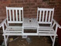 White painted wooden seat with integral table