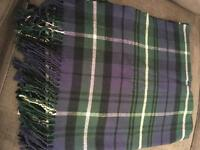 Topshop navy & green check scarf
