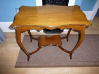 Vintage Hall Table with bowed legs & lower shelf
