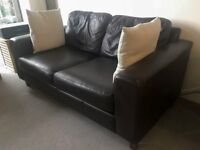 Two Seater Leather Sofa Bed - Can Deliver