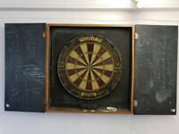 dart board and cabinet 3 sets of professional darts