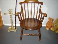 Victorian spindle back open armchair
