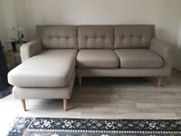 3 seater sofa with chase (beige)