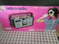 Union Jack limited edition retro radio by View Quest. Brand new in box, never been out of box.
