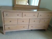 Large chest of drawers/dressing table with mirror and two side tables