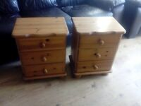Pine pair of bedside cabinets