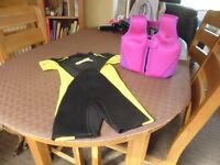For sale Wet Suit and bouyancy aid