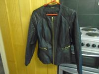 ladies black imitation leather jacket size 10