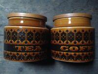 Hornsea Heirloom vintage tea and coffee canisters 1970s