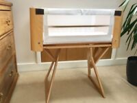BEDSIDE CRIB COT WITH MATTRESS AND SHEETS