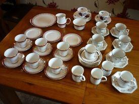 Bone China - Various Cups, Saucers and Plates, milk jug & sugar bowl.