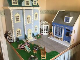Complete Georgian Dolls House, Garden,Conservatory and Guest House