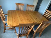 Ducal Pine Extending Dining Table and 6 chairs