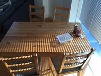 IKEA INGO \ IVAR table and 4 chairs with cushions + 2 folding chairs