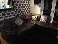DFS luxury Italian brown corner leather sofa