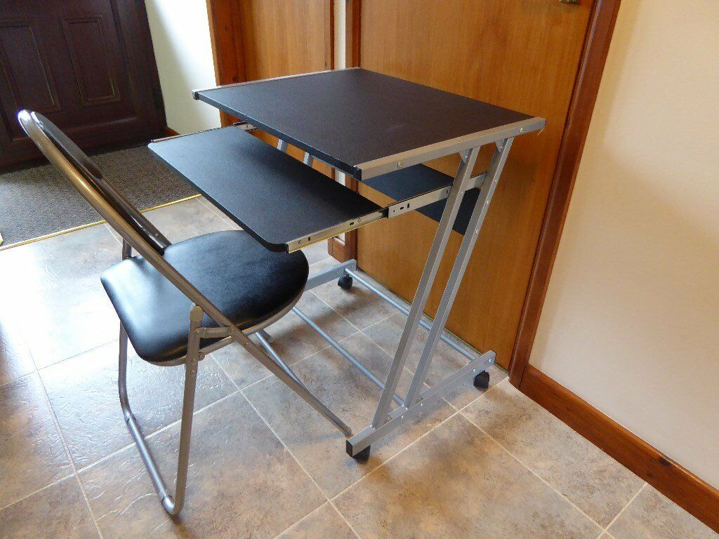 Fold Up Shelf Computer Desk And Fold Up Chair Slide Out Keyboard Shelf Padded