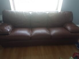 3 seater and chair brown leather sofa