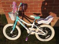 "Giant puddin 16 girls bike bicycle 16"" wheel white blue"