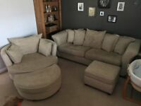 DFS 3 seater plus storage foot stool & swivvle love seat plus standard foot stool