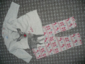 "Bundle of Christmas top and leggings/trousers from Next for Boy 3-6mths old. ""Deer Santa..."""