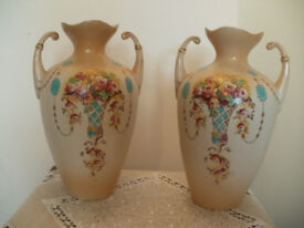 Two part hand painted vases 1890s