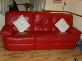 2 x Red Leather sofas in very good condition