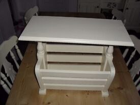 Shabby Chic Farmhouse Country Solid Oak Magazine Rack In Farrow & Ball Cream No 67